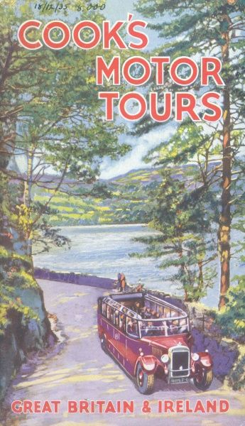 Cover illustration for Cook's Motor Tours of Great Britain and Ireland, showing an open topped motor coach driving along a road by the side of a lake on a sunny day in an English Lake District scene