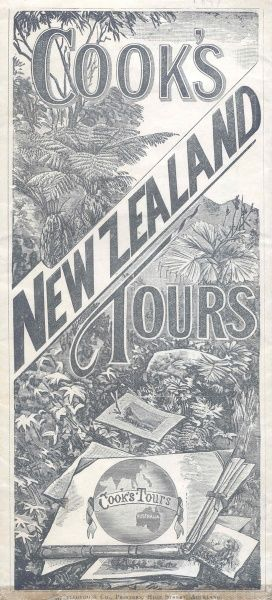 Cover illustration for Cook's New Zealand Tours, showing tropical flora and fauna in a landscape. Date: 1897