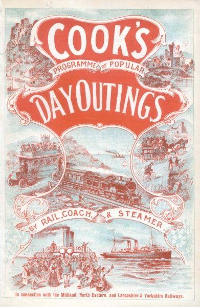 Cover illustration for Cook's Programme of Popular Day Outings by Rail, Coach and Steamer in connection with the Midland, North Eastern, and Lancashire & Yorkshire Railways. There is a montage of sketches, including a motor coach, a steam train