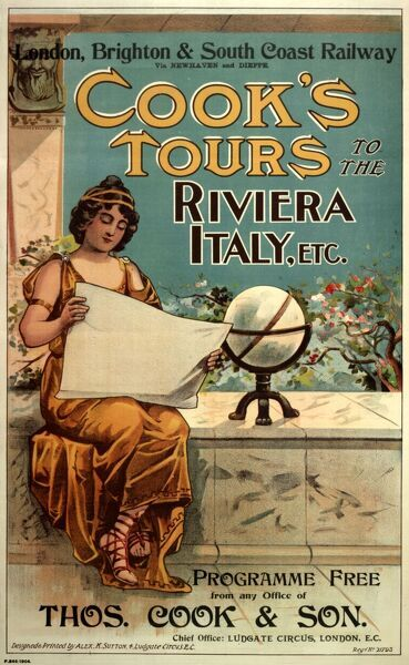 Poster or handbill advertising Cook's Tours to the Riviera, Italy, etc, using the London, Brighton and South Coast Railway to Newhaven and Dieppe, programme free from any office of Thomas Cook & Son. Showing a classically dressed Roman woman