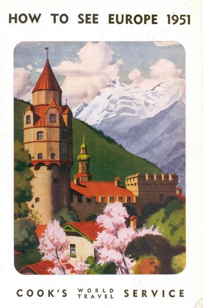 A Cook's World Travel Service cover, How to See Europe, 1951, depicting a Bavarian scene with a castle, snow-covered mountains and trees