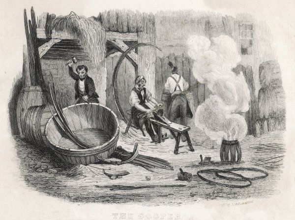 Three coopers at work manufacturing barrels
