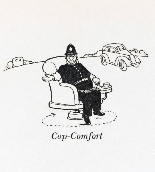 A policeman directs the traffic from the comfort of an armchair. Please note: Credit must appear as (c) Courtesy of the estate of Mrs J.C.Robinson/Pollinger Ltd/Mary Evans Picture Library