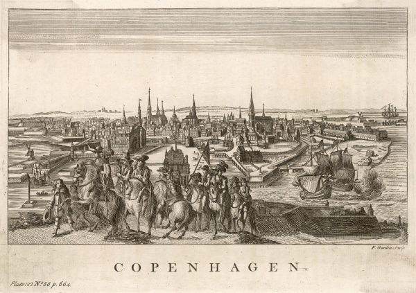 general view of the city, with shipping, fortifications and a bunch of travellers