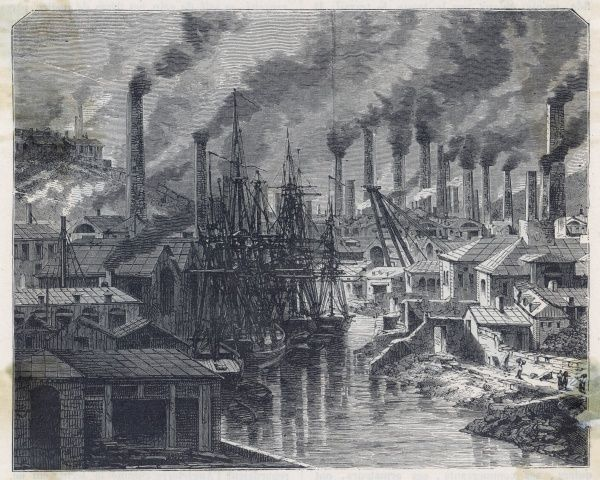 Copper works in Cornwall, with many smoking chimneys