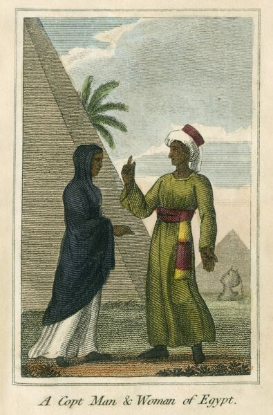 A Copt Man & Woman - Egypt. A book of national types and costumes from the early 19th century