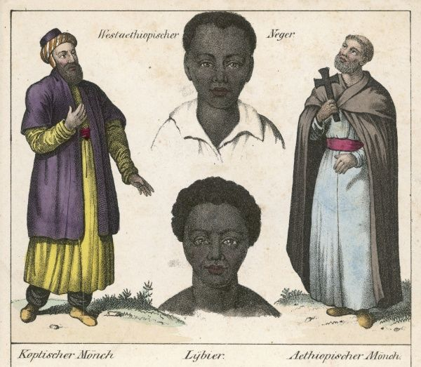 Ethiopian monks : on the left, a Coptic monk ; the other is simply labelled Ethiopian monk