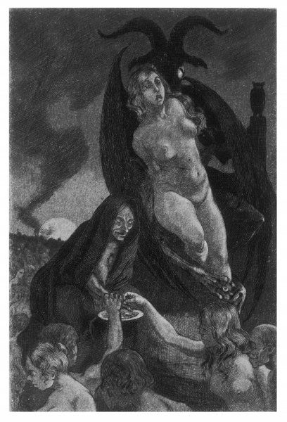 At the sabbat, witches copulate with Satan