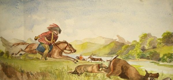Copy of a painting depicting deer hunting. Date: 1867