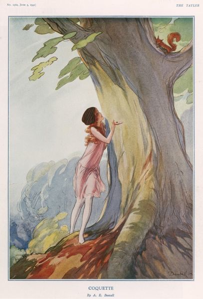 A colour illustration by Alfred Bestall of a young girl with auburn hair trying to coax a red squirral down from a tree