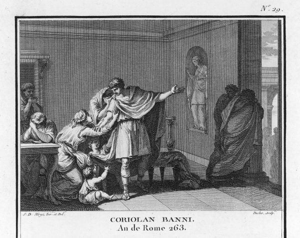 The Roman general, Gaius Marcius Coriolanus, is banished from Rome because of his arrogance, and suspicion concerning his political ambitions
