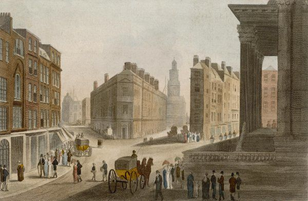 Cornhill, Lombard Street and the portico of the Mansion House