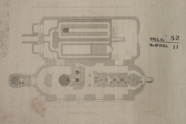 Plan of the Cornish engine and boilers erected at the East London Water Works, Old Ford Date: 1842