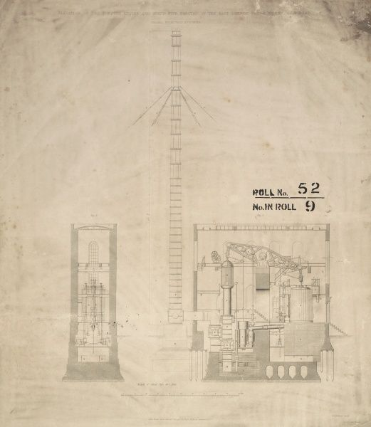 Elevation of the Cornish engine and stand pipe erected at the East London Water Works, Old Ford Date: 1842