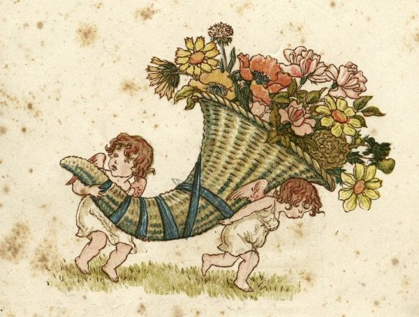 Children carry a cornucopia full of flowers. Date: 1884