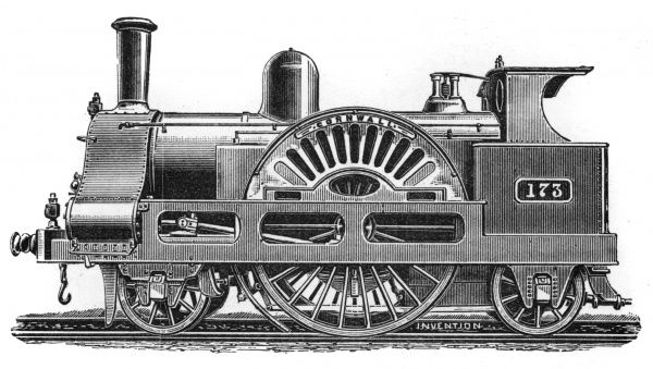 "The ""Cornwall"" locomotive after rebuilding, London and North Western Railway, 1863-1893. Date: 1863"