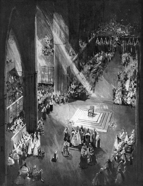 The culminating moment of the coronation ceremony, as Queen Elizabeth II is crowned queen in Westminster Abbey by the Archbishop of Canterbury. Date: 1953