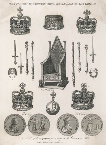 The Ancient Coronation Chair and Regalia of England, including the Crown Jewels, and medals of King George III and Queen Charlotte given away at their coronation in 1761