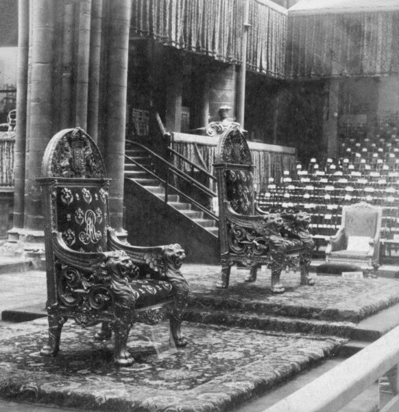 The two Coronation chairs inside Westminster Abbey, London, in the year of King Edward VII's Coronation. Date: 1902