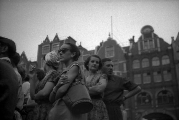 Close up of spectators at Golden Square looking at events on Coronation evening