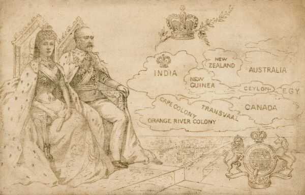 King Edward VII and Queen Alexandra - a postcard to celebrate his coronation in 1901, showing (rather oddly) the colonies of the British Empire floating past him like clouds. Date: 1901