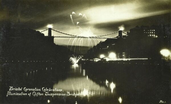 Firework Show from the Clifton Suspension Bridge, Bristol to commemorate the coronation of King George V on 6th May 1910. Date: 1910