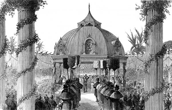 Engraving showing the coronation of the King and Queen of the Sandwich Islands at Hawaii, 1883