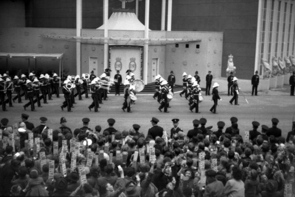 The Band of the royal Marines march past the west door of The Abbey. 1953