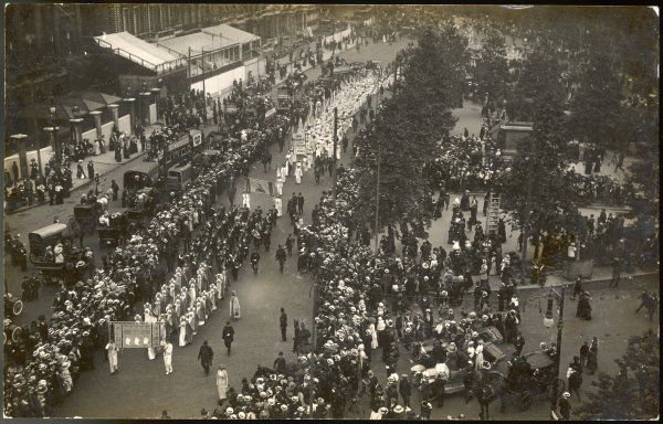 A birds-eye view of the march, which was attended by 29 Suffrage societies & ended with a meeting in the Albert Hall