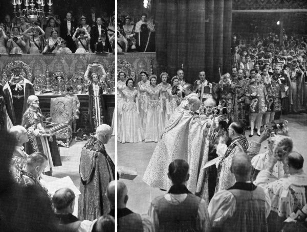 The supreme moment during the Coronation of Queen Elizabeth II where St. Edward's Crown is placed on the Queen's head by the Archbishop of Canterbury, the people shout, 'God Save the Queen' and the Princes and Princesses, Peers