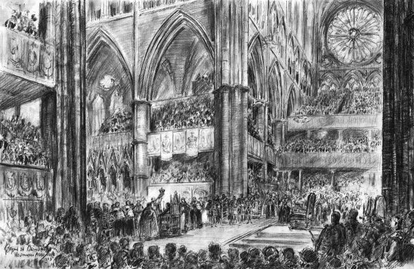 Spectacular illustration by ILN special artist, Bryan de Grineau, showing the supreme moment of the Coronation ceremony of Queen Elizabeth II in Westminster Abbey when the Archbishop of Canterbury reverently placed St Edward's Crown on the