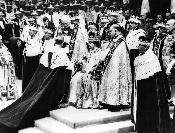 Coronation of Queen Elizabeth II on 2 June 1953 in Westminster Abbey showing the Duke of Edinburgh paying homage. Date: 1953