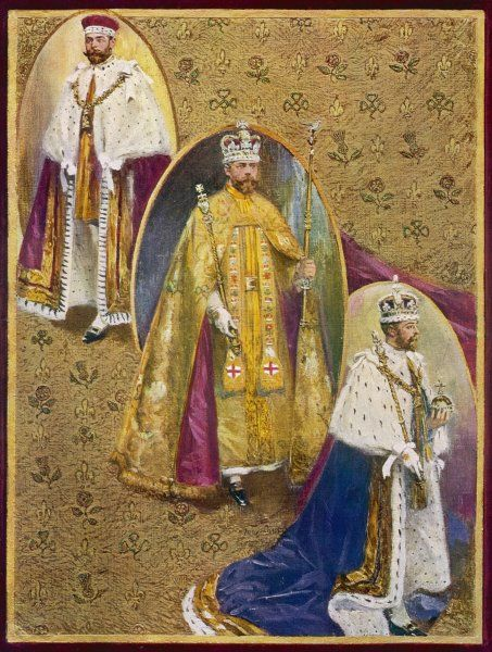 George V wears three robes during the coronation ceremony - the Royal Crimson Robe of State, the Golden Imperial Mantle, and the Royal Robe of Purple Velvet Date: 1911