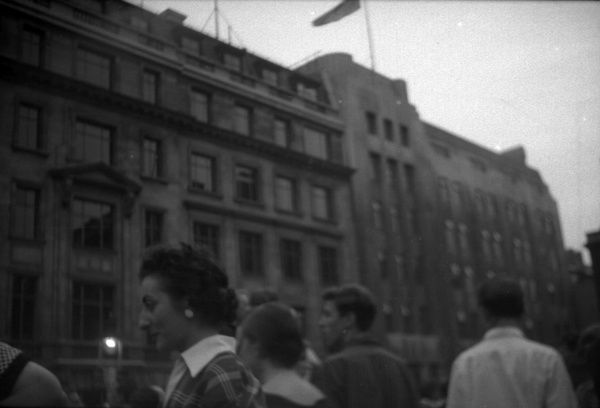View of spectators at Golden Square looking at events on Coronation evening