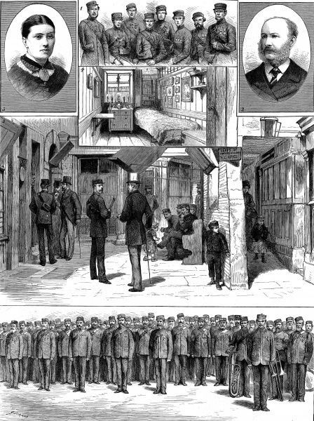 Engraving showing a number of scenes relevant to the Corps of Commissioners, London, 1880. The images show (clockwise from top left): Mrs. Brook Smith, Lady Adjutant; Original Members of the Corps; a bedroom in the Barracks; Captain E. Walters