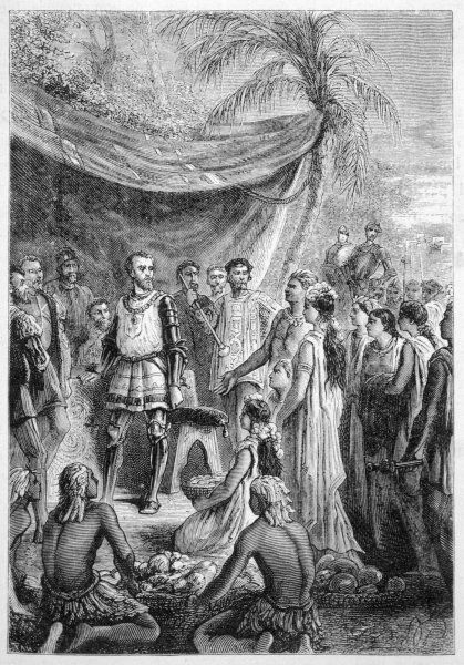 Cortes receives tribute from the Aztecs after the initial Spanish victory