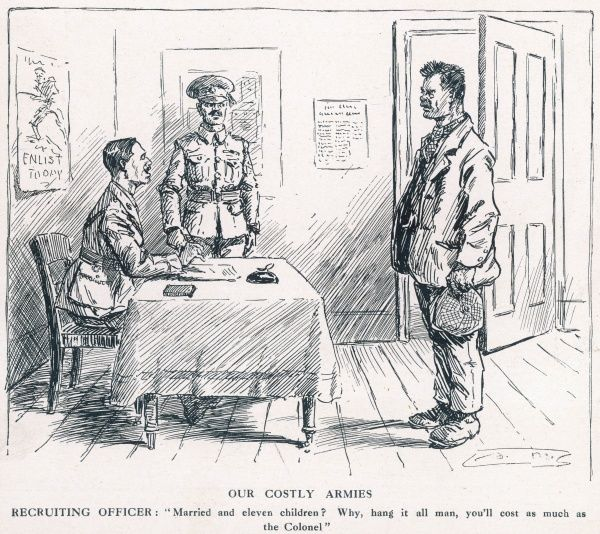 A recruiting sergeant is shocked to discover that a volunteer for the Army turns out to have a wife and eleven children and comments that he will cost as much as the Colonel in army pay
