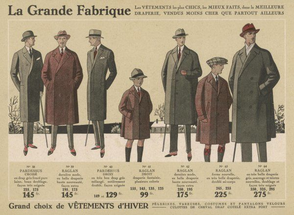 A selection of single & double-breasted coats including raglans, sacs & slim-fitting models with fly fronts