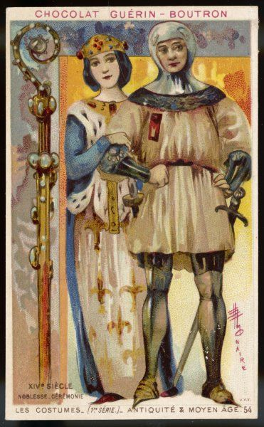 A nobleman and his wife: he wears armour and carries a sword; she wears a richly jewelled costume, with ermine