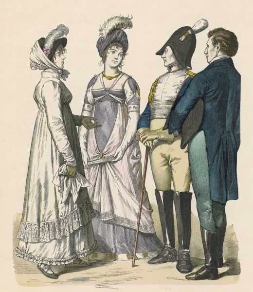 German and French fashions for men and women for the years 1809 - 1812 according to a later source