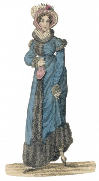 A young woman in a blue, fur- trimmed pelisse shows a leg. She wears a lace ruff, large bonnet, lace trimmed slippers and carries a pink shell shaped reticule