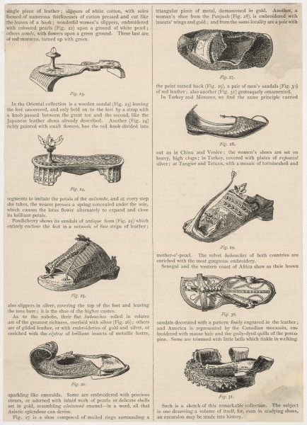 Various styles of shoe from the Orient and the Americas