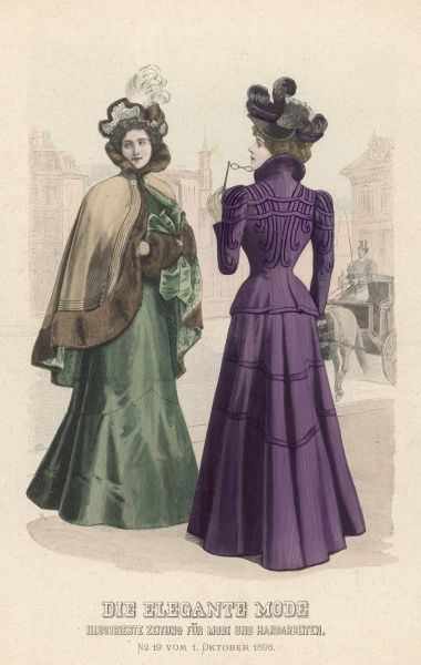 Two elegant ladies, one wearing a fur-trimmed cape