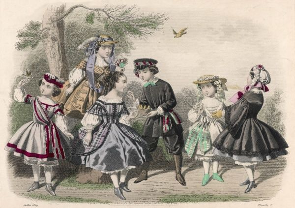 Boy: tunic, gaiters, sash & knickerbockers. Girls: black pardessus, plaid tunic dress with velvet trim, chemisettes with bishop sleeves, other short dresses with sashes