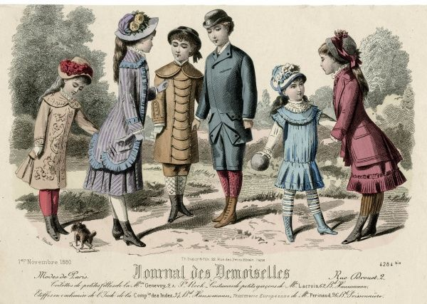 Boys: knickerbockers, bowler hat, tunic with cape. Girls: low waisted dress with yoke, striped stockings; coat- bodice, kilted or flounced short skirts, trimmed hats. Date: 1880