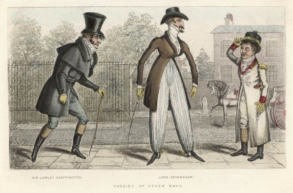 Sir Lumley Skeffington and Lord Petersham wear cossack trousers & box coat with single cape
