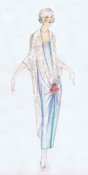 Costume design by unknown designer for New York stage, 1920s for a lady in a blue slip dress, lace wrap held together with pink roses Date: 1920s