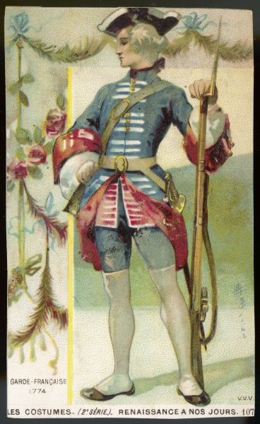 A member of the French Guard, in full uniform, with a sword at his belt and a combined rifle and bayonet
