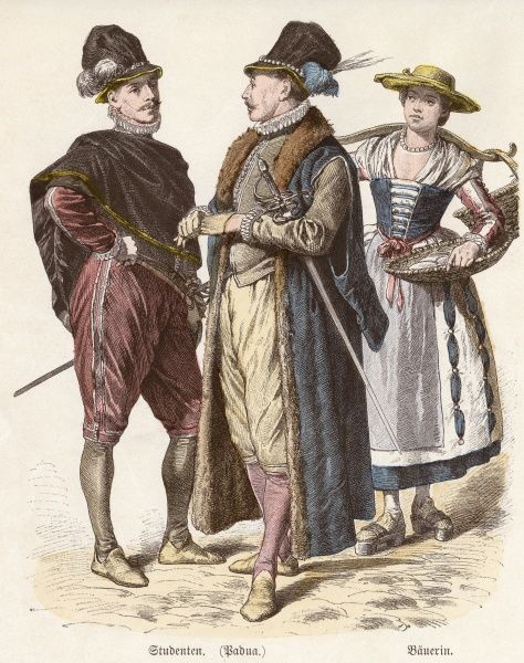 Two Italian students from Padova wearing breeches known as 'Venetians' with matching doublets, small ruffs & tall crowned hats. N.B fur-lined gown with hanging sleeves. Date: 1583