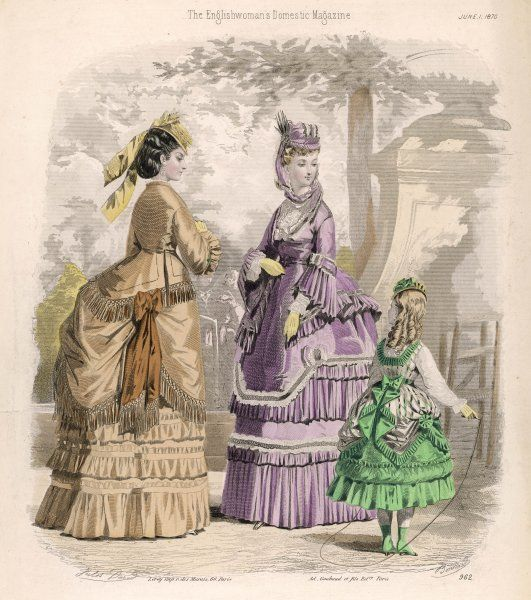 Dresses comprised of an under- skirt, upper-skirt with apron front & jacket bodice with basques deep enough to form an over-skirt. Girl: tunic with pointed hem & waistband